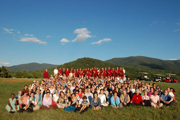 Kyabje Tsetrul Rinpoche gathers with Lotus Garden sangha at the site of the future temple.