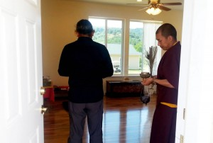 HE Dzigar Kongtrul Rinpoche with Ven. Thrinley Gyaltsen blessing a retreat room.