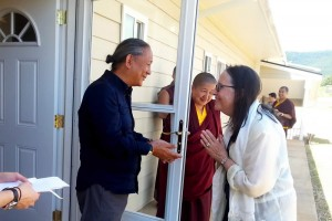 HE Dzigar Kongtrul Rinpoche with Lopön Helen Berliner after blessing her retreat room.