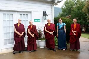 Ani Drolma, Ani Jigme, Ani Kalden, Ani Chöying and Zuzana Dankova await the arrival of His Eminence Dzigar Kongtrul Rinpoche.