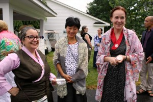 Sangha members Katie Calkins, Krista Ma and Elisabeth Pachon.