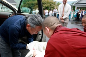 His Eminence Dzigar Kongtrul Rinpoche is welcomed by Mindrolling Jetsün Khandro Rinpoche upon his arrival at Lotus Garden.