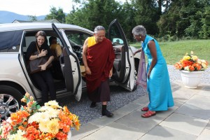 HE Dzigar Kongtrul Rinpoche and Jennifer Shippe arrive at the Main Shrine Room.