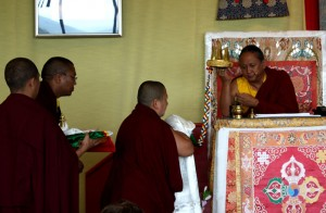 The traditional mandala offering is made to HE Dzigar Kongtrul Rinpoche on the first day of teachings.