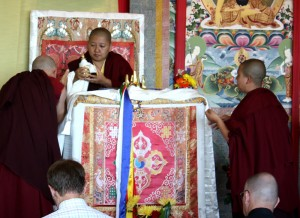 On the first day of teachings, a mandala offering is made to Mindrolling Jetsün Khandro Rinpoche.
