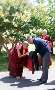 HE Jetsün Khandro Rinpoche says goodbye to HE Dzigar Kongtrul Rinpoche.