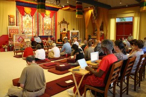 Students listen to Dr. Shakya Dorje teaching on the Art of Tibetan Medicine.