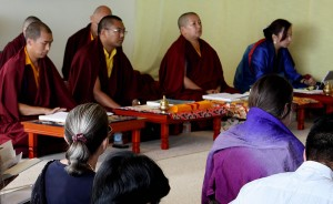 Mindrolling Jetsün Khandro Rinpoche, Minling Jetsün Dechen Paldron, Ven. Acarya Namdrol Gyatso and Ven. Thrinley Gyaltsen at the teaching.