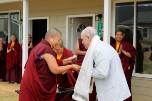 HE Jetsün Khandro Rinpoche presents Carl Rosenthal with the key to his room