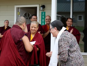 HE Jetsün Khandro Rinpoche presents Lopön Helen Berliner with the key to her room