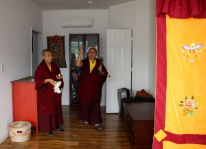 HE Jetsün Khandro Rinpoche blesses a retreat room.