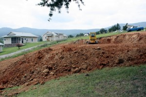 In late summer 2014, the ground is leveled at the site of the future retreat building.