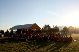 The sangha gathers at 7:00 a.m. at the site of the future temple.