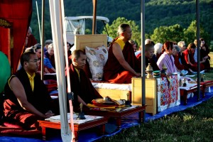 HE Dzigar Kongtrul with HE Jetsün Khandro Rinpoche, Minling Jetsün Dechen Paldrön, Ven. Acarya Namdrol Gyatso, and Umdze Ven. Thrinley Gyaltsen.