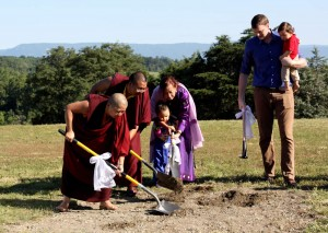 The Mindrolling family along with Ven. Acarya Namdrol Gyatso breaks the ground.