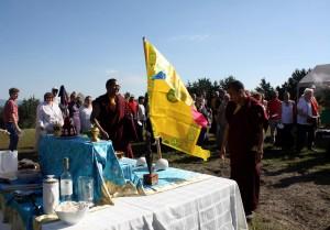 Ven. Acarya Namdrol Gyatso and Ven. Thrinley Gyaltsen celebrate.