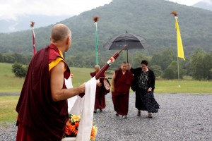 Mindrolling Jetsün Khandro Rinpoche arrives for a teaching.