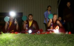 Jetsün Khandro Rinpoche, Ven. Acarya Namdrol Gyatso, and Ven. Thrinley Gyaltsen with Jetsün Rinpoche, Jetsün Dechen Paldrön and Yeshe Choedron.