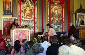 Jetsün Khandro Rinpoche with Anila Drolma and Zuzana Dankova during a teaching.