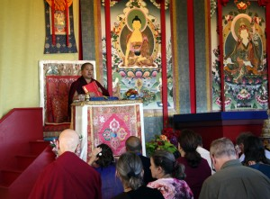 Jetsün Khandro Rinpoche introducing a liturgy.