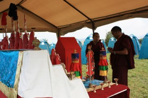 Ven. Acarya Namdrol Gyatso and Ven. Thrinley Gyaltsen at the shrine.