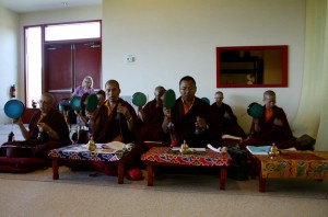 The Mindrolling monks and nuns of Samten Tse at the Annual Retreat.