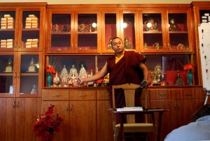 Ven. Acarya Namdrol Gyatso teaching students.