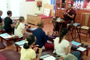 Ven. Acarya Namdrol Gyatso and students during mudra class..