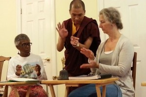 Ven. Thrinley Gyaltsen teaching students during vajrayana ritual classes.