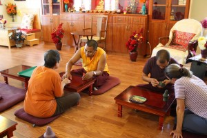 Ven. Acarya Namdrol Gyatso and Ven. Thrinley Gyaltsen during torma class.