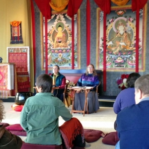Lopön Rita, along with Lopön Helen Berliner teaching during the Winter Dathun at Lotus Garden, 2012-13.