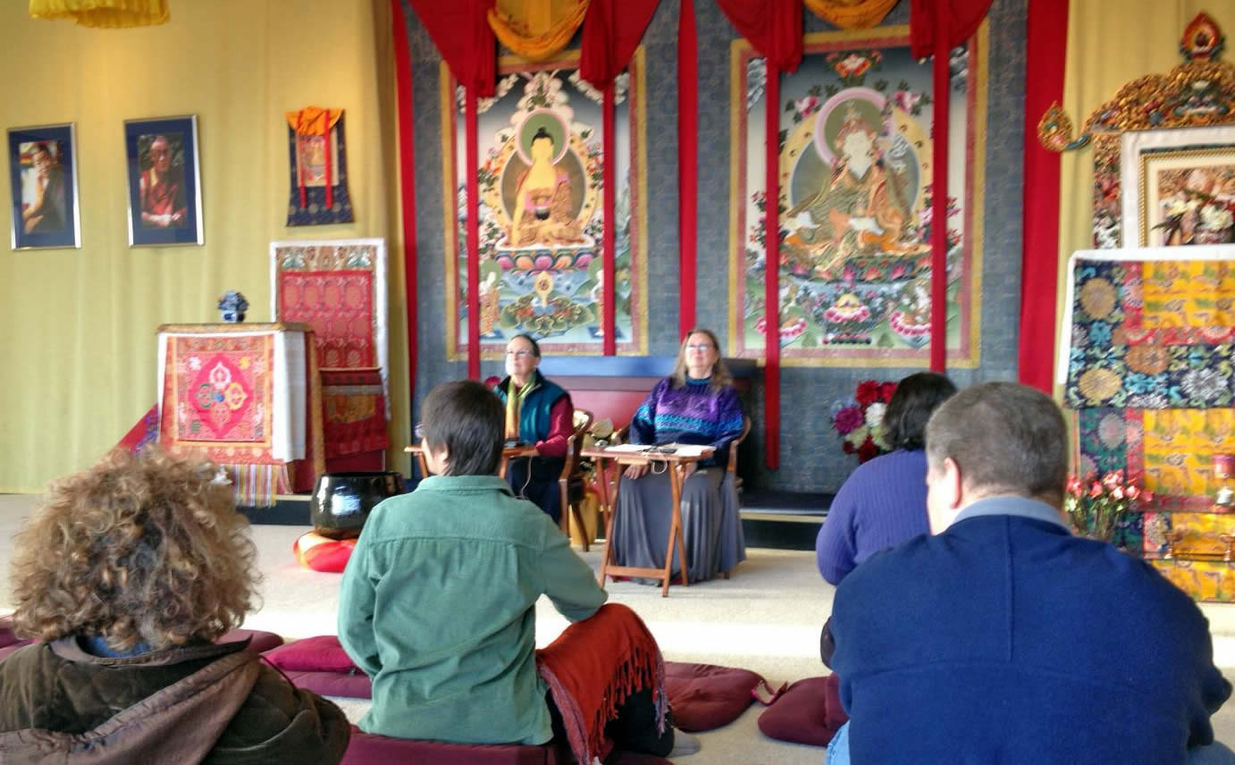 Lopön Rita, along with Lopön Helen Berliner teaching during the Winter Dathun at Lotus Garden, 2012-13.