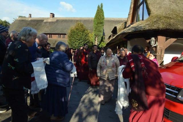 Mindrolling Jetsun Khandro Rinpoche, Tulku Drakpa Rinpoche, Mindrolling Sangyum Kushog arriving at Oberlethe, Germany for the Mahasangha. October 2016.