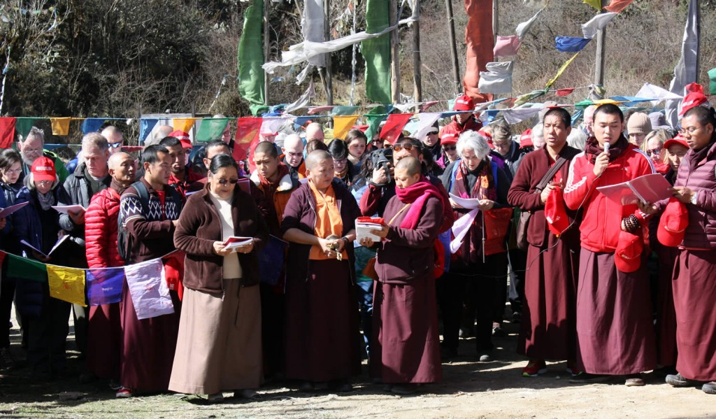 Sangha members gathered with Jetsün Khandro Rinpoche, Minling Sangyum Kushog, monks and nuns of Mindrolling at Pelela Pass in Bhutan, March 2016.