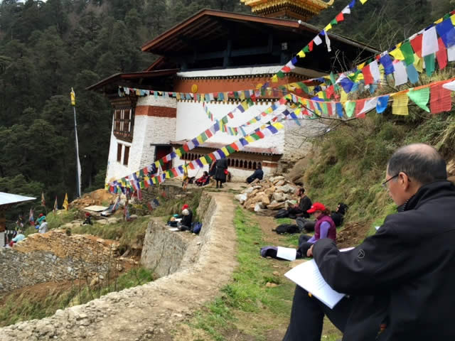 Practicing at Paro Chim Phug, the Vajrayogini Temple. Bhutan, March 2016.