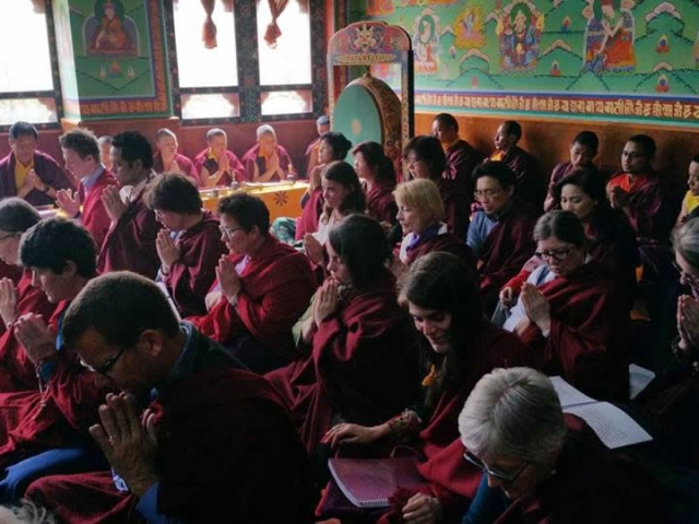 Sangha during sadhana practice at Paro. Bhutan, March 2016.