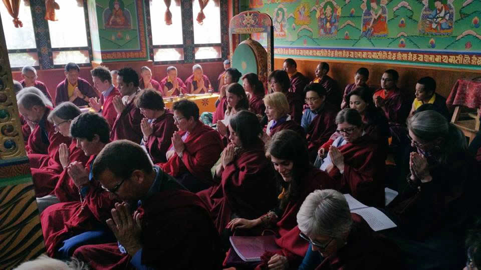 Sangha during sadhana practice at Paro. Bhutan, March 2016.