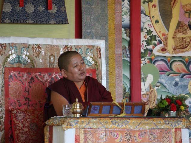 Mindrolling Jetsün Khandro Rinpoche during a teaching at the Mindrol Lekshey Program in July 2016.