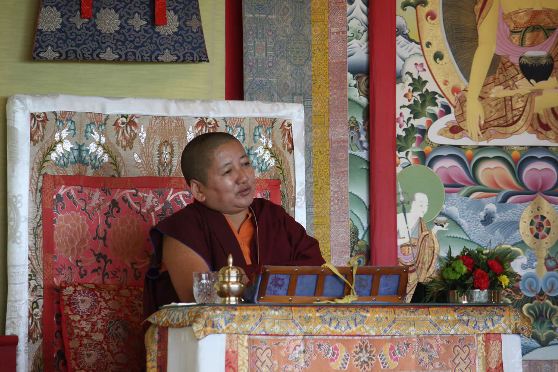 Mindrolling Jetsün Khandro Rinpoche during a teaching at the Mindrol Lekshey Program in July 2016.