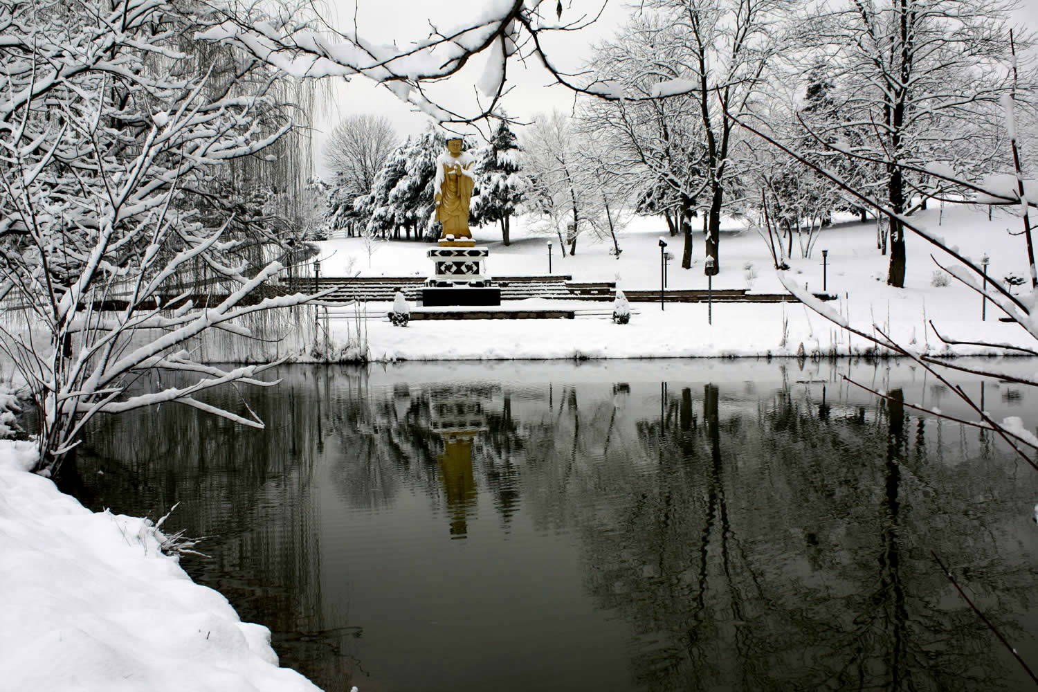 A winter view of the Buddha Park at Lotus Garden