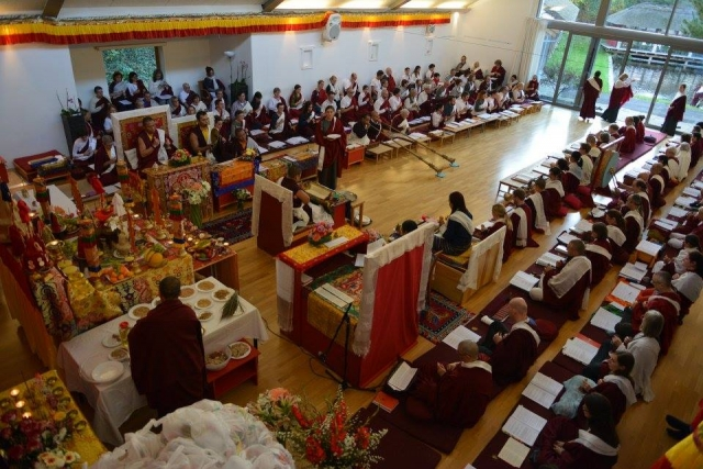 View of the shrine room at Oberlethe, Germany. Mahasangha 2016.