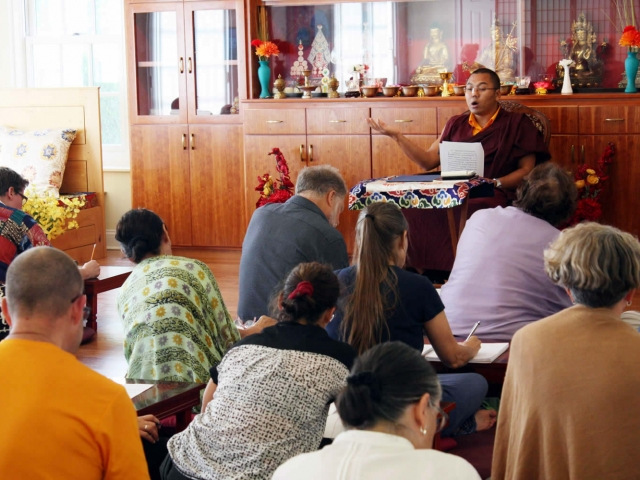Acarya Ven. Namdrol Gyatso la and students during Tibetan Language Class, a course of instruction entitled Learning Tibetan Language and Ritual. Mindrol Lekshey, 2016.