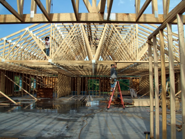 JULY 15-Interior view of 2nd floor and roof trusses.