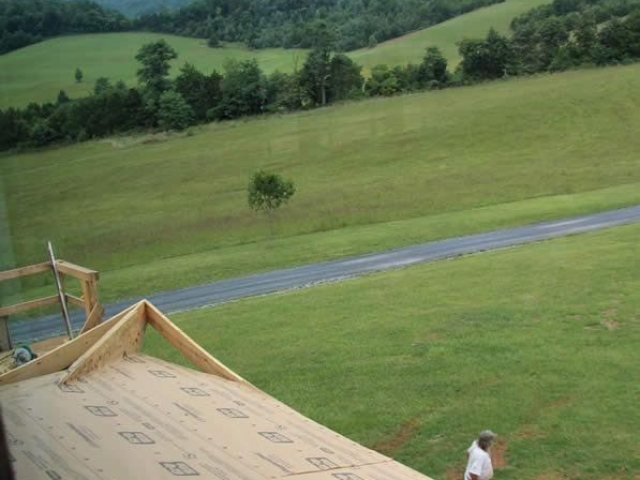 View from 2nd floor of veranda corner construction in process.