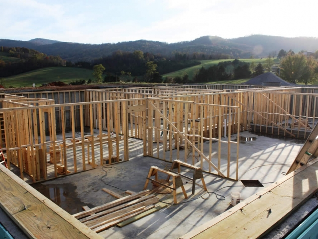 NOVEMBER 15-Late afternoon view of basement progress.