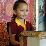 Minling Jetsün Rinpoche during prayers on Dungse Rinpoche's 3rd birthday