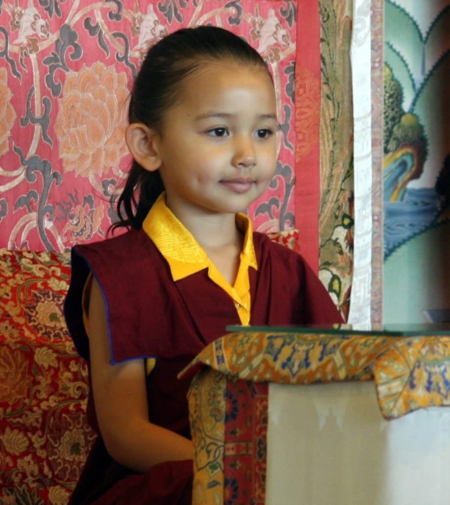 Minling Jetsün Rinpoche during prayers on Dungse Rinpoche's 3rd birthday