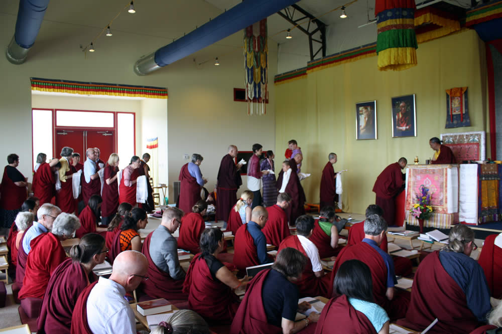 Sangha members during the teachings of Dzigar Kongtrul Rinpoche