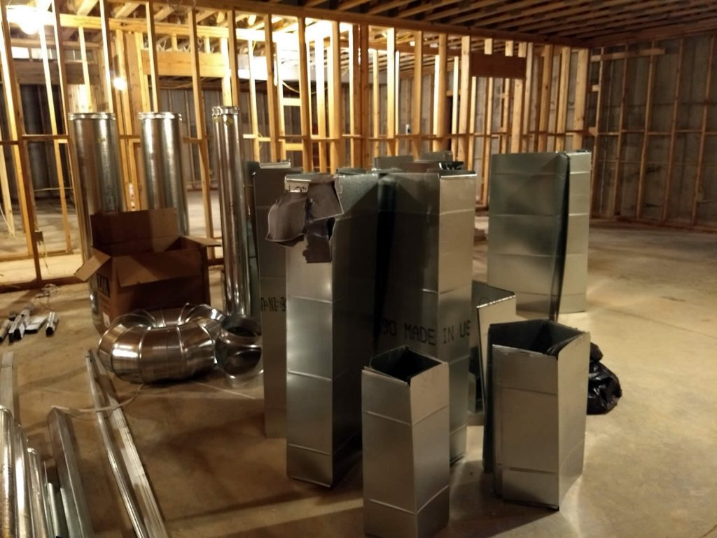 14 March 2019 - HVAC duct materials awaiting installtion on 2nd floor of temple.
