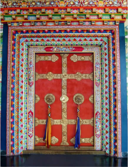 Example of traditional temple doors which will be installed in Mindrol Gatsal.